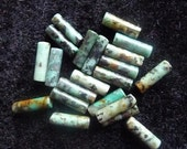 """African """"turquoise"""" Bead  (dyed), 13x4mm round tube, C grade (Pkg Of 10)"""
