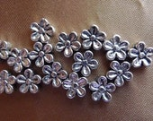 Beads, Silver Plated, Pewter, 7mm, Flower, Pkg Of 16