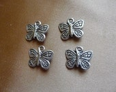 SALE!! Drop, Bead, Butterfly, Antiqued, Silver plated, 15x12mm, Pkg Of 3 SALE!!