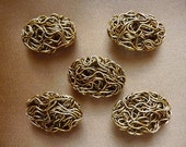 SALE!! Beads, Component, ZincRich Pewter, Antiqued, Gold Finished, 22x16mm, Twisted Wire, Oval, Undrilled,  Pkg Of 6