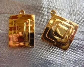 SALE!! Gold Plated, Brass, Drops, 23x19mm, Fancy Rectangle, 27x27mm, Fancy Diamond, One Of Each  SALE!!