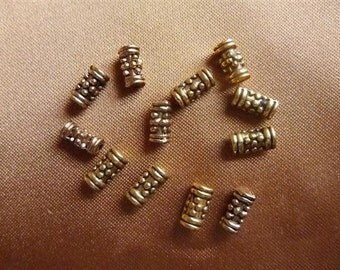 Bead, Antique  Gold Plated, Tube Bead, 8x4mm, Pkg of 20