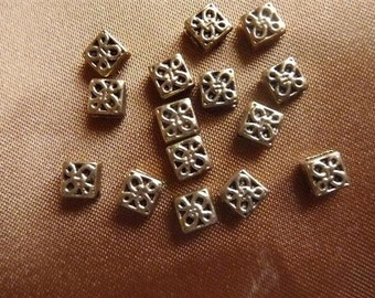 SALE!! Bead, Antique, Gold Plated Metal,6mm, Square ,Pkg Of 15. SALE!!