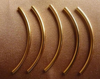 Bead, Gold-Plated, Brass, 38x2mm, Curved Tube,  Pkg Of 12