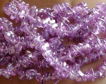 Glass Chip Beads, Amethyst, Purple AB, Small, 4mm to 8mm,  18 in strand