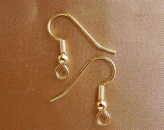 Earwire, gold-plated, surgical steel, 20mm, fishhook, 3mm ball, 4mm coil, with open loop, 21 gauge, Pkg Of 10 Pairs