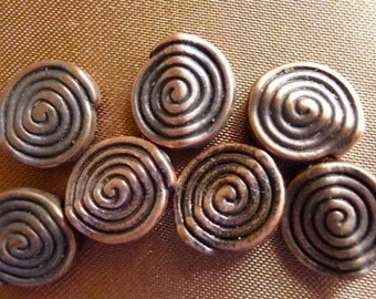 Beads, Antiqued Copper, 12mm, Round Discs, Spiral Circle Design, Pkg Of 8
