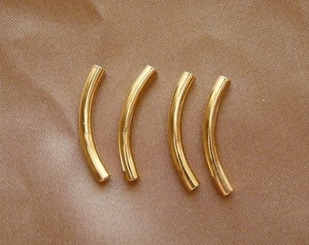 Bead, gold-plated brass, 26x3mm, curved tube, Pkg Of 12