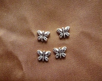 Bead, ZincRich Pewter, antiqued, silver finished, 10x7mm, double sided, butterfly, pkg of 12