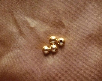 Bead, gold plated brass, 8mm, smooth round, Pkg Of 14