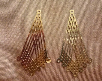 Focal, Lazer Lace, gold plated brass, 38x21mm, kite, with 7 to1 loops, Pkg of 6