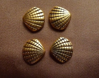 SALE!! Bead, antiqued, gold finished, pewter, zinc based alloy, 14x13mm, double sided, shell, Pkg Of 8 SALE!!