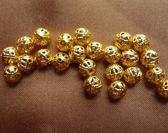 Bead, Gold-Plated Brass, 6mm, Filigree Round, Pkg Of 12