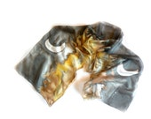 Silk Scarf, Hand Painted, Long Scarf, Moon  and Earth, Brown, Black with Swarowsky Crystals MADE TO ORDER