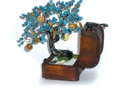 Hand Made Tree of Life Turquoise Naturale Stones with Coins, Treasury Tree, Tree of Luck OOAK Made to Order