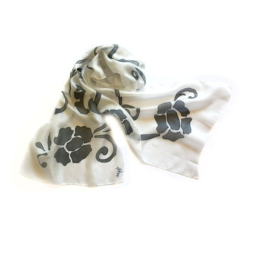 Hand Painted Long Silk Scarf Black Stylized Flowers in a White Background