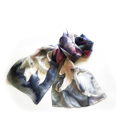 Hand Painted Long Silk Scarf with Lilium Flowers, Background in Purple, Grey, Magenta and Blue