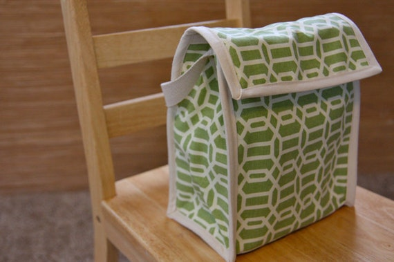 Reusable Lunch Bag - geometric green
