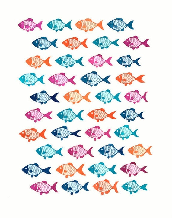 Fishes Gouache Illustration