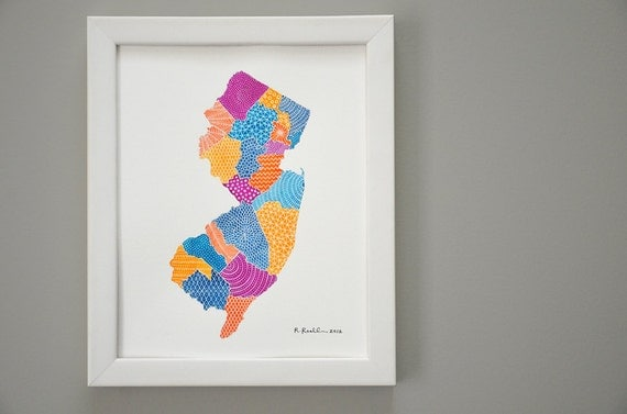 New Jersey Map Illustration