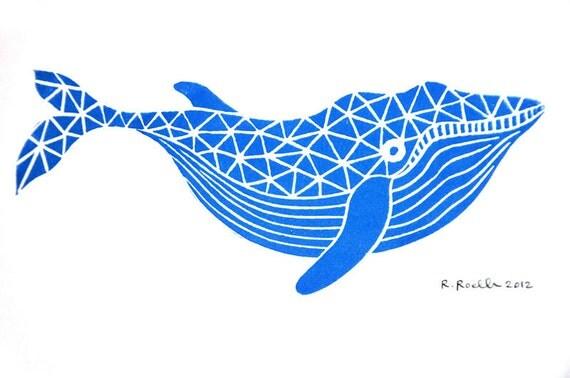 Whale - Mini Block Print
