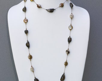 Faceted Smoky Quartz, Freshwater Pearl and Jasper Necklace- NK 108
