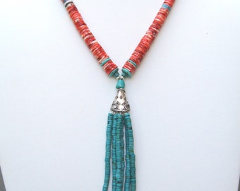Navajo Southwestern Red Spiny Oyster and Turquoise Heishi Tasseled Necklace- NK 146