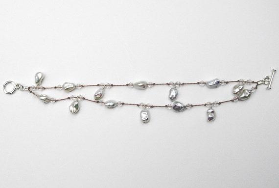 Faceted White Baroque Dangle Freshwater Pearl Bracelet- BR 100