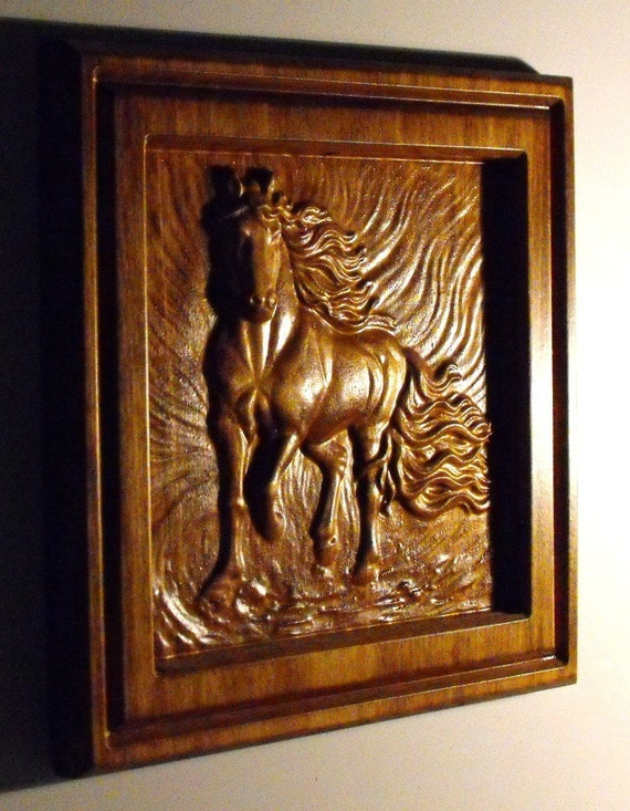 Horse wood carving dark stain by cassedywooddesigns on etsy
