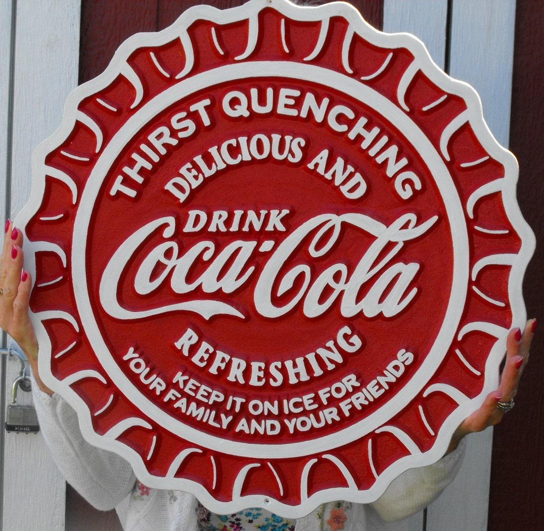Coca Cola Carved Wood Sign