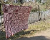 African Quilt Kuba Red Spiral no. 3