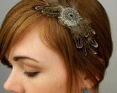 Brown/Black Feather Headband with Silver Pendant