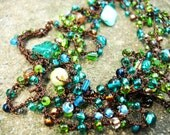Necklace - Crocheted, long, beaded, glass, multi copper, blue, green, wrap brown