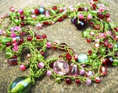 Necklace - Crocheted, long, beaded, glass, multi green, red, pink, wrap green