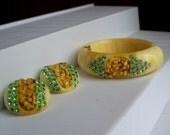 Vintage Rhinestone Lucite Clamper Bracelet Earrings Set 1950's Green Yellow Retro