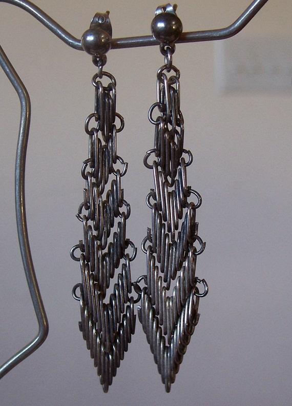Vintage Chevron Silver Wire Dangle Earrings Long