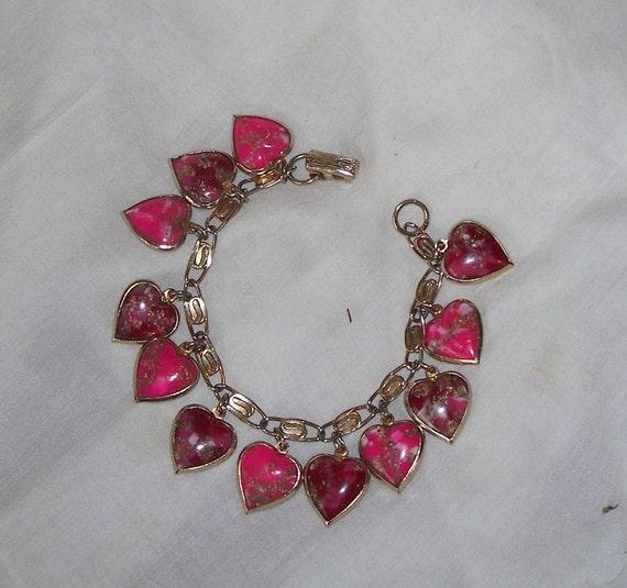 Vintage Puffy Heart Charm Bracelet Pink Glass Gold Tone
