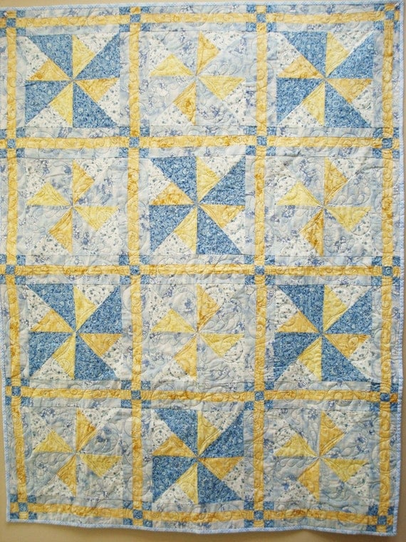 Quilt Handmade Blue Yellow White Lap Quilt Crib Quilt