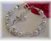 Girls Personalized First Communion Rosary Bracelet Swarovski Pearl and Crystal