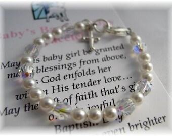BABY Baptism Bracelet for Girls Freshwater Pearls Swarovski Crystals Sterling Silver Cross