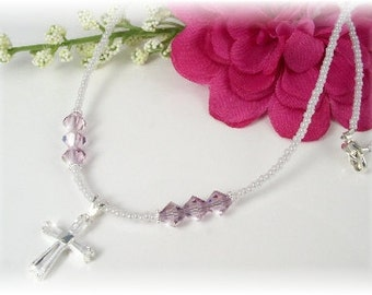 Confirmation Day Birthstone Necklace Seed Bead Sterling CZ Cross Teens