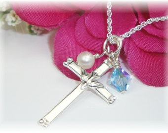 Girls Confirmation Birthstone Necklace Cross with Dove Sterling Pendant Religious Gift
