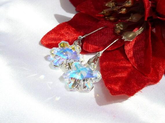 Swarovski Crystal Snowflake Earrings .925 Sterling Silver Leverback