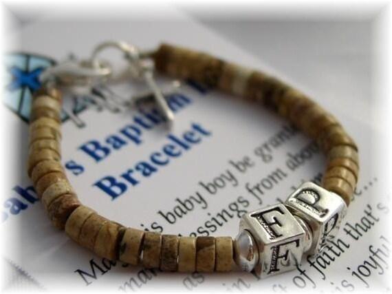 Gift Baby Boy Baptism : Personalized baby boy baptism bracelet initials christening