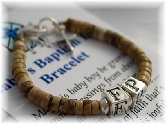 Personalized BABY BOY Baptism Bracelet Initials Christening