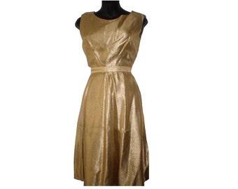 Vintage 50s Gold Lame Lurex Metallic Top & Skirt two piece dress outfit sz. S VLV