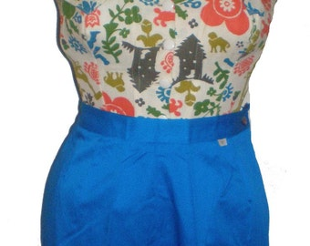 "Vintage 1960's 60s cerulean blue shorts adjustable button back sz.S 26""w VLV"