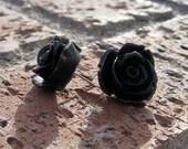 Resin Rose Earrings - DETAILED Black Rosebud Earrings . . . Buy 3 Get 1 FREE . . . Surgical Steel, Bridesmaids Gifts, Nickel Free Earrings