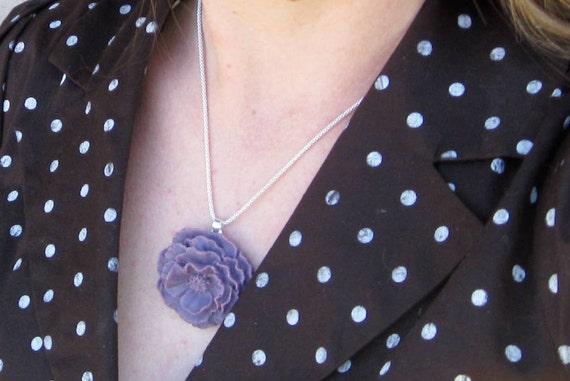 Large Rose Necklace Pendant - ALICE - Choose Your COLOR