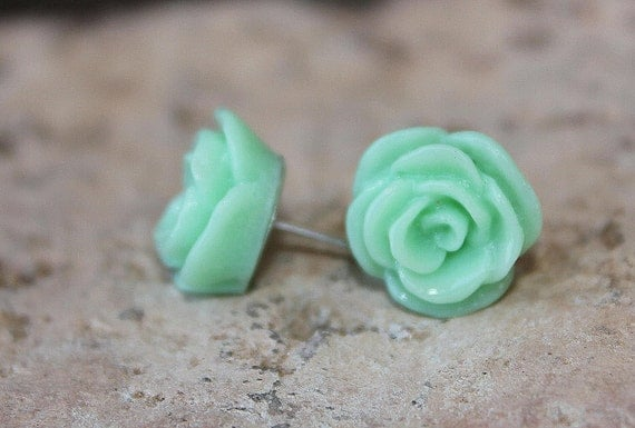 Rose Earrings - 12mm DARLING Seafoam Green Earrings  . . . Buy 3 Get 1 FREE . . . Post Earrings, Nickel Free, Cabochon Earrings